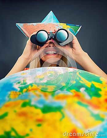 Cheerful traveler girl