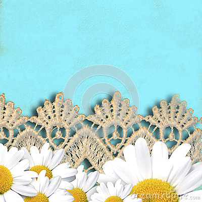 Cheerful turquoise background with daisies