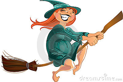 Cheerful witch on the broom