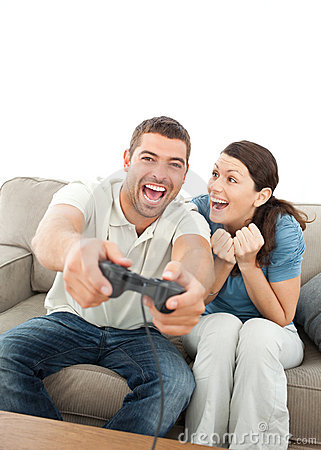 Cheerful woman encouraging her boyfriend