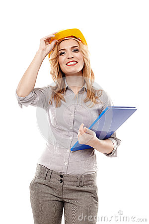 Free Cheerful Woman Engineer Wearing Protection Helmet And Holding A Royalty Free Stock Images - 36439539
