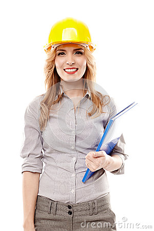 Free Cheerful Woman Engineer Wearing Protection Helmet And Holding A Stock Image - 36439541