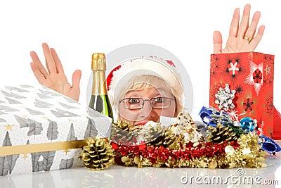 Cheerful woman head, Christmas symbols