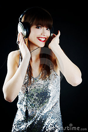 Cheerful woman with headphones