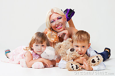 Cheerful woman with her children