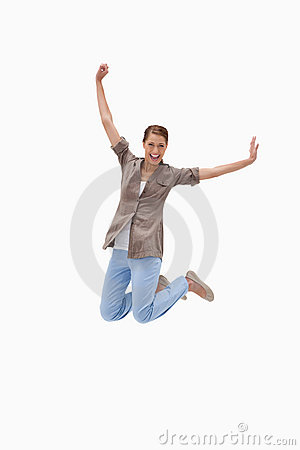 Cheerful woman jumping