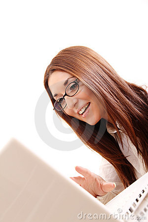 Cheerful Woman with a Laptop