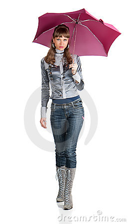 The cheerful woman  with a pink umbrella