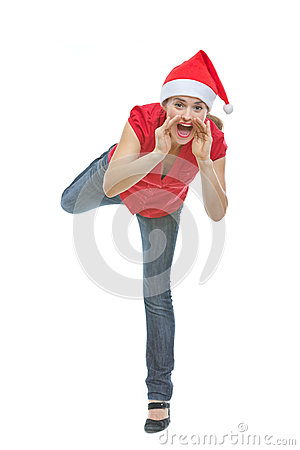 Cheerful woman shouting through megaphone shaped