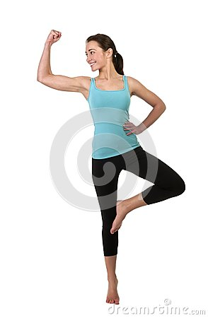 Cheerful woman showing her muscles