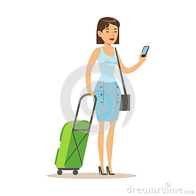 Cheerful woman standing with travel suitcases and holding smartphone in her hand. Colorful cartoon character vector Vector Illustration