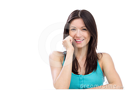Cheerful woman talking on the phone and smiling