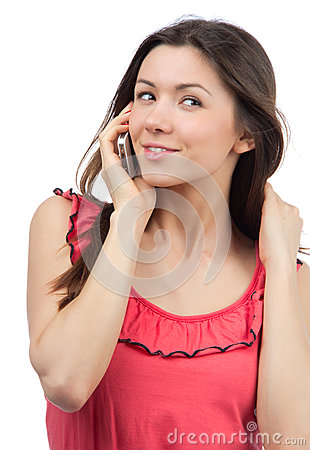 Cheerful woman talking on the phone, smiling