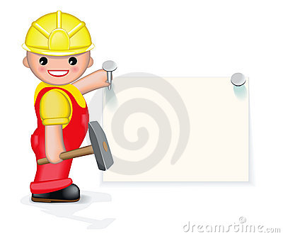 Cheerful worker is nailing paper to the wall
