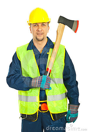 Cheerful workman holding axe