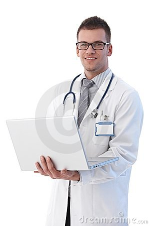 Cheerful young doctor with laptop smiling