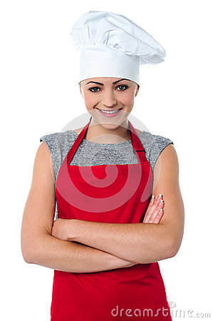 Cheerful young female chef