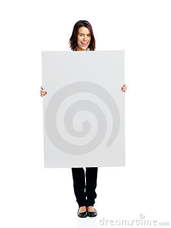 Cheerful young female holding empty board