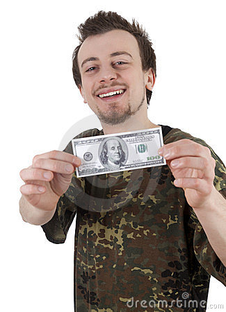 Cheerful young man holding one hundred dollars