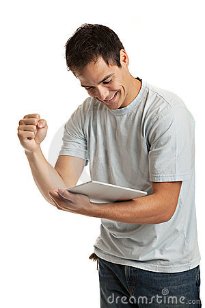 Cheerful Young Man Holding a Touch Pad Tablet PC