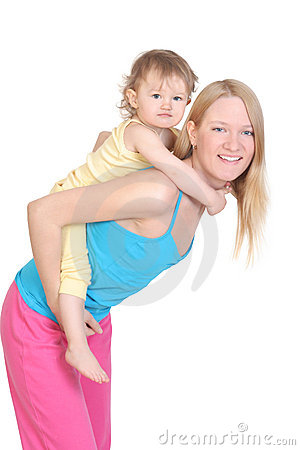 Cheerful young mother and her baby