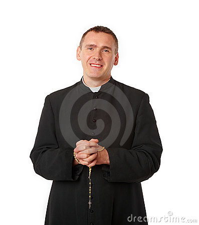 Cheerful young priest