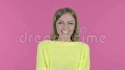 Cheerful Young Woman Laughing, Pink Background stock video