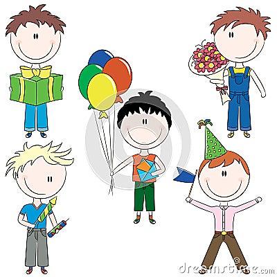 Cheerfull kids make happy birthday wishes
