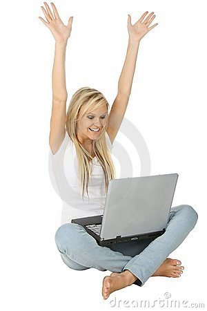Cheering Blond and Laptop