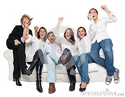 Cheering family watching tv