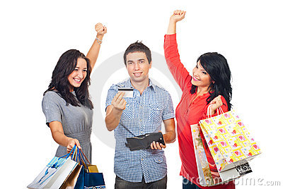Cheering friends with credit card and shoppings