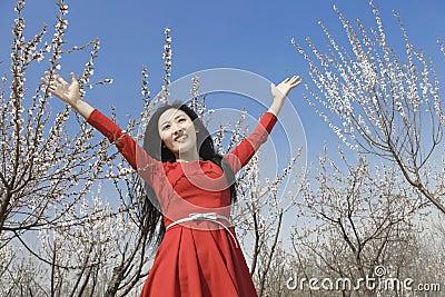A cheering girl