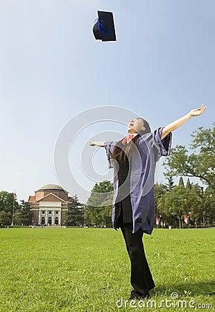 A cheering graduate