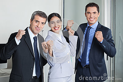 Cheering group of business team