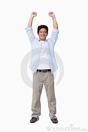 Cheering male with arms up