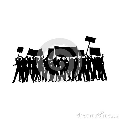 Free Cheering Or Protesting Crowd Silhouettes Stock Image - 65690961
