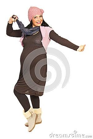 Cheering pregnant woman