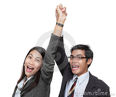 Cheering successful business team