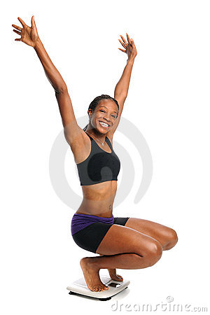 Free Cheering Woman On Scale Royalty Free Stock Photos - 16787408