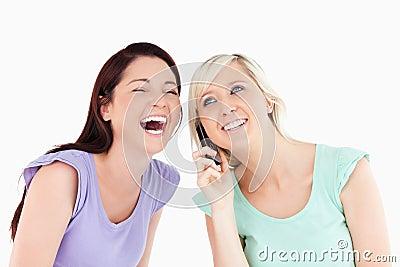 Cheering women on the phone