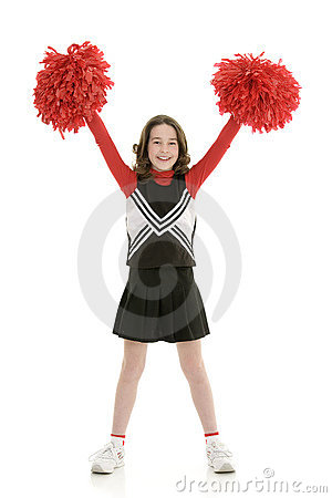 Ten year old caucasian girl dressed as a red cheerleader outfit