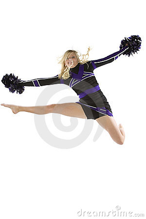 Cheerleader in the air one leg out