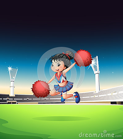 A cheerleader cheering on the field