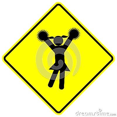 Cheerleader cheerleading girl vector sign