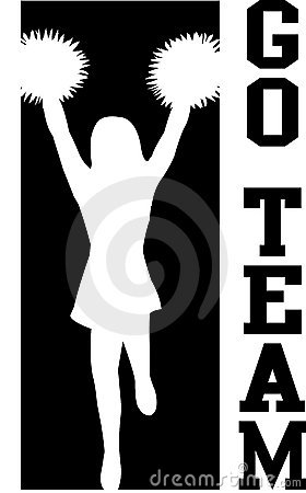 Free Cheerleader Go Team Black/eps Stock Images - 6275124