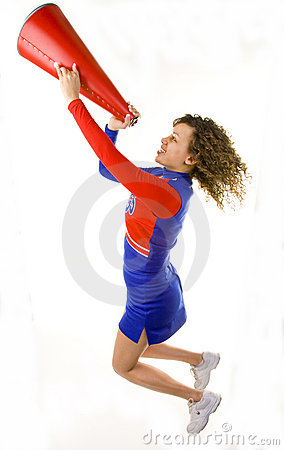 Cheerleader Jumping with Megaphone