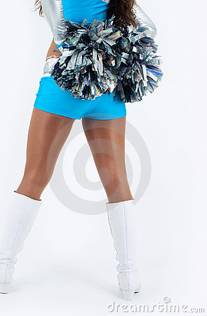 Cheerleader with pom-poms.