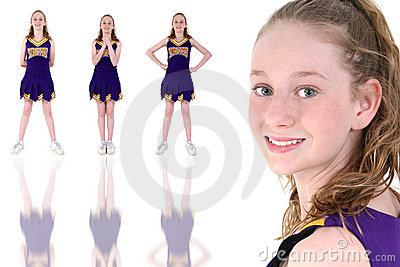 Cheerleader With Unofficial Team Name And Colors Uniform