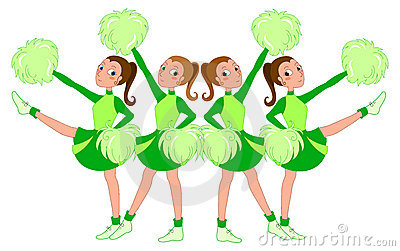 Cheerleaders in green - vector
