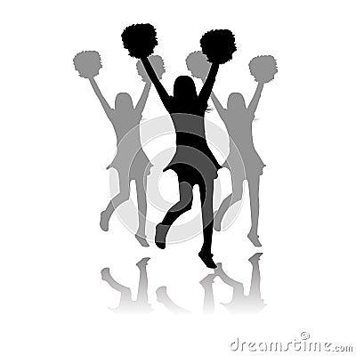 Cheerleaders performance silhouette